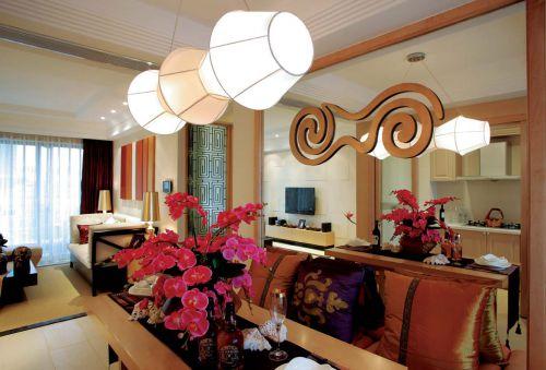 东南亚风格三居室客厅吊顶装修效果图欣赏