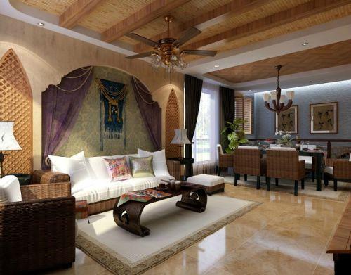 东南亚风格五居室客厅背景墙装修效果图大全