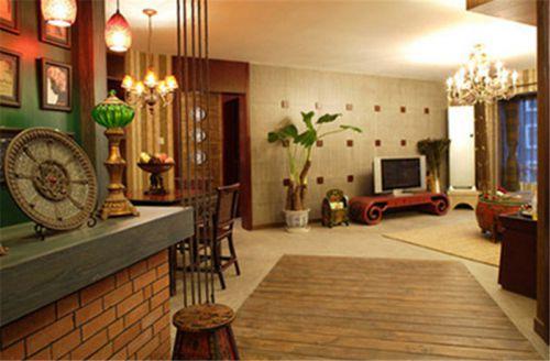 东南亚风格三居室客厅隔断装修效果图大全