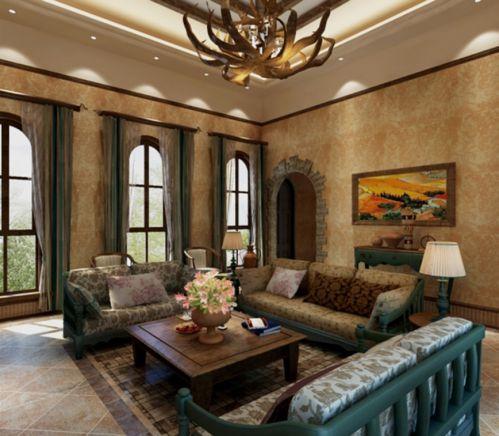 东南亚风格四居室客厅吊顶装修效果图