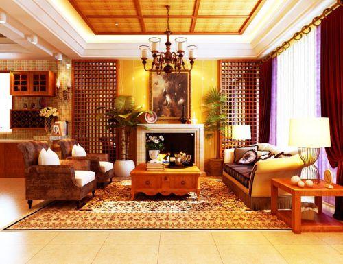 东南亚风格四居室客厅窗帘装修效果图欣赏