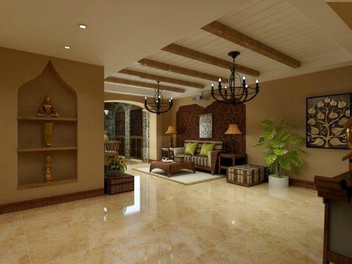 东南亚风格五居室客厅吊顶装修图片