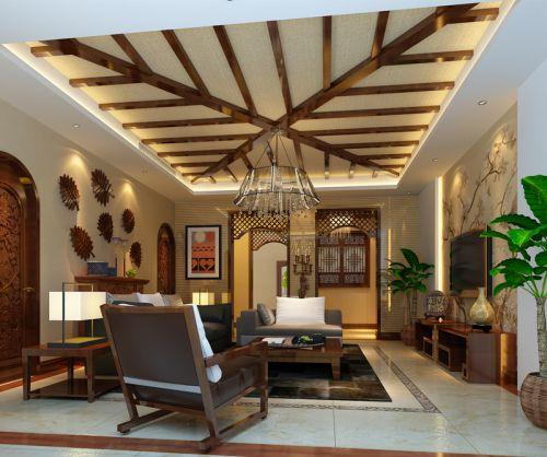 东南亚风格别墅客厅吊顶装修效果图