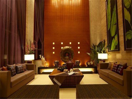 东南亚风格三居室客厅影视墙装修效果图大全