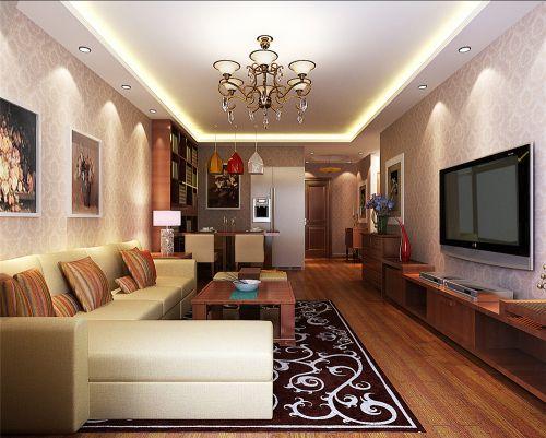 东南亚风格二居室客厅吊顶装修图片