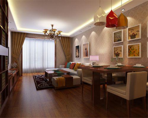 东南亚风格二居室客厅吊顶装修效果图欣赏