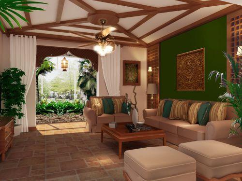 东南亚风格四居室客厅楼梯装修图片