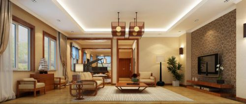 东南亚风格四居室客厅背景墙装修效果图