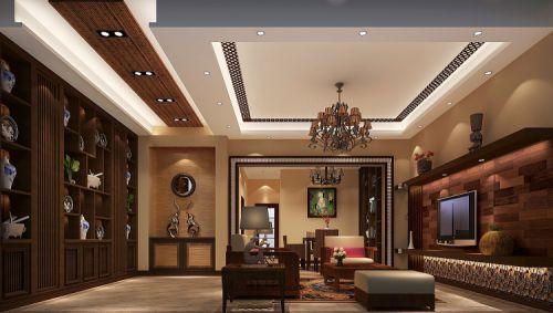 东南亚风格别墅客厅背景墙装修效果图
