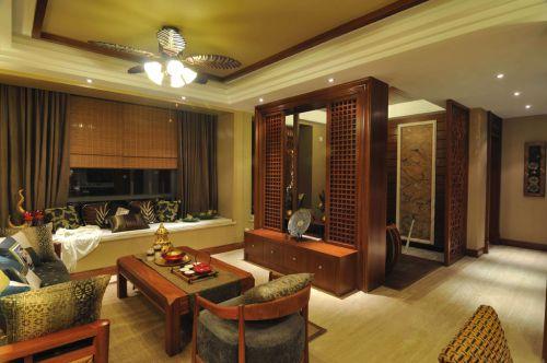 130平米东南亚风格客厅三居室装修样板间