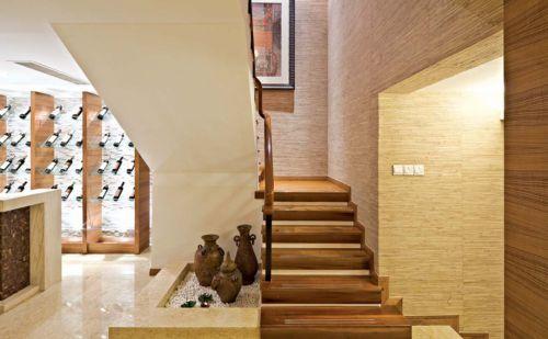 东南亚风格别墅客厅楼梯装修效果图