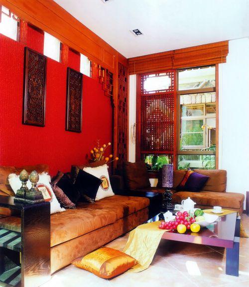 中式古典客厅背景墙效果图