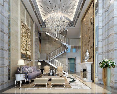 新古典风格四居室客厅吊顶装修效果图欣赏