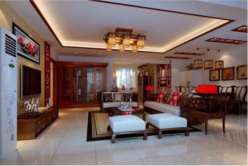 中式古典四居室客厅装修效果图大全