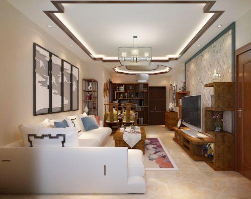 中式古典二居室客厅吊顶装修效果图