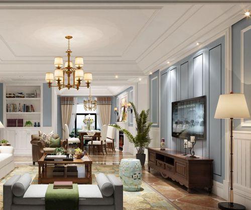 清新雅致古典现代风格客厅电视背景墙装修效果图