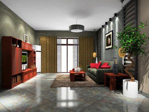 灰色调客厅中式古典主义风格装修效果图
