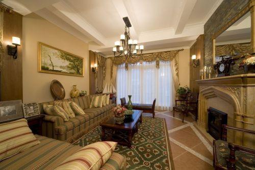 温馨质朴古典风格优雅客厅装修效果图