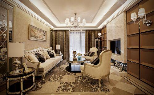 118平新古典风格轻奢大气客厅装修效果图