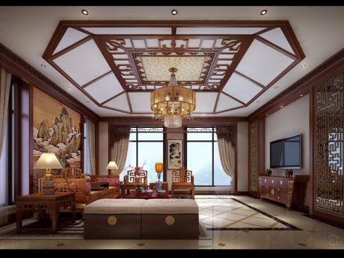中式古典五居室客厅飘窗装修效果图欣赏