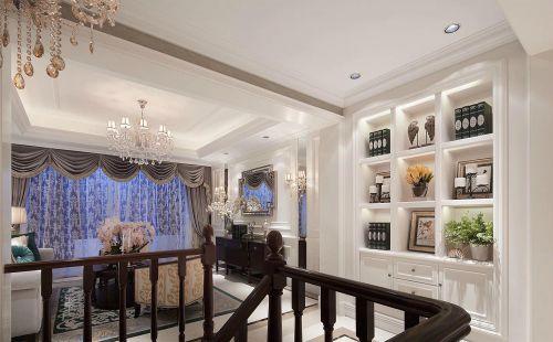 白色别墅新古典客厅楼梯装修效果图