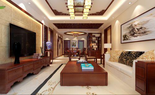 中式古典四居室客厅背景墙装修效果图欣赏