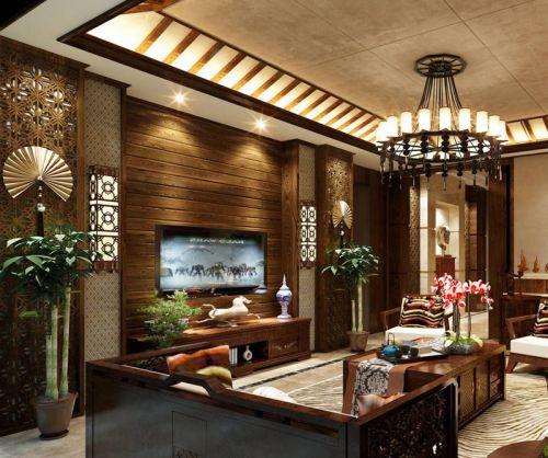 古典别墅装修客厅背景墙效果图
