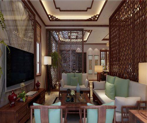 中式古典五居室客厅背景墙装修效果图大全