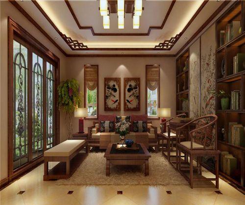 中式古典五居室客厅吊顶装修效果图大全