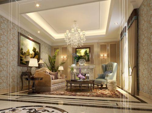 新古典风格别墅客厅背景墙装修效果图