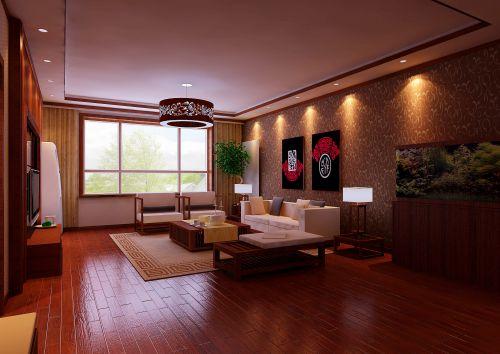 中式古典四居室客厅装修效果图欣赏