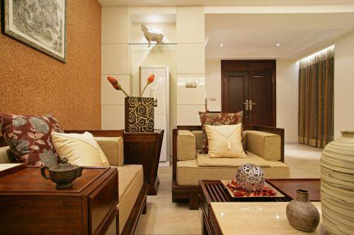 中式古典三居室原木色茶几装修效果图