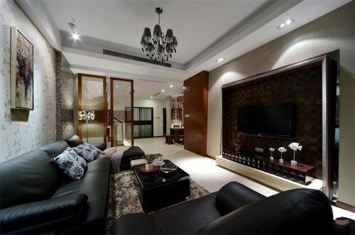 西式古典三居室客厅黑色茶几效果图