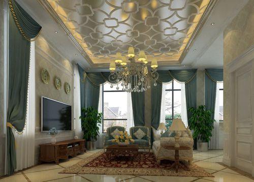 新古典风格三居室客厅吊顶装修效果图