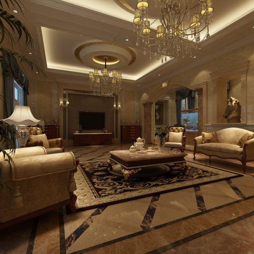 新古典风格别墅客厅茶几装修图片