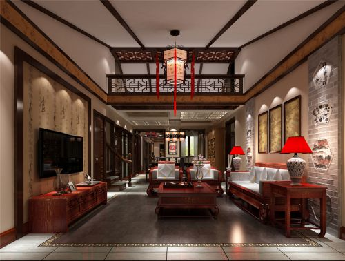 中式古典三居室客厅背景墙装修效果图欣赏