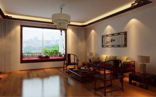 中式古典四居室客厅装修图片