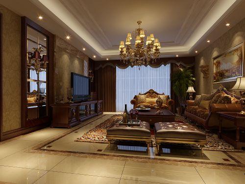 古典混搭风格四居室客厅装修效果图大全