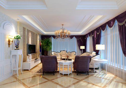 西式古典四居室客厅吊顶装修效果图