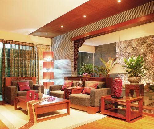 经典红色古典风格客厅空间吊顶装修效果图