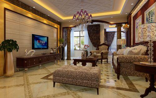 别墅客厅古典风格大气咖啡色电视柜效果图