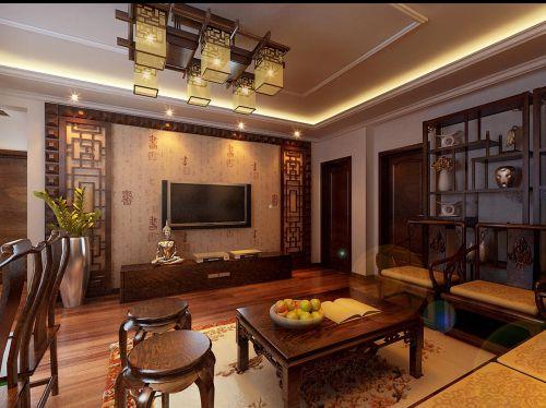 四居室中式古典风格黄色客厅吊灯灯具效果图