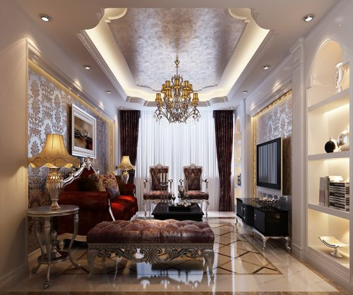 新古典风格三居室客厅背景墙装修效果图
