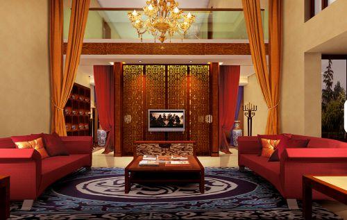 中式古典二居室客厅背景墙装修效果图欣赏