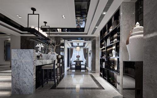 灰色155平三居室西式古典客厅吧台设计