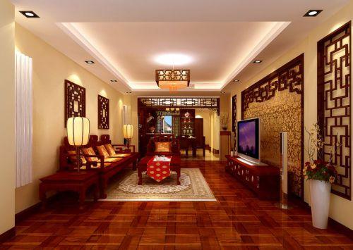 中式古典三居室客厅吊顶装修效果图