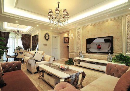 新古典风格三居室客厅电视柜装修图片