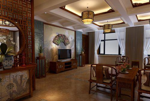 四居室中式古典风客厅沉稳吊灯效果图