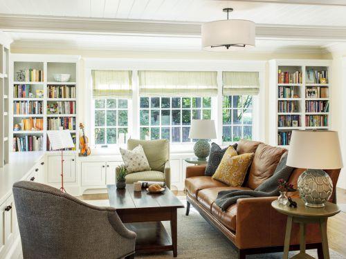 清新明亮新古典客厅咖色沙发实景图