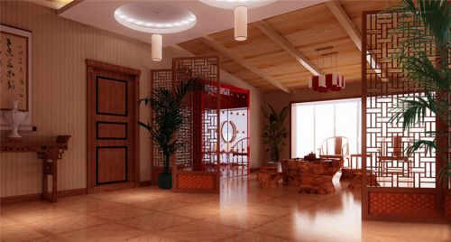 古典风178平客厅处屏风装修效果图